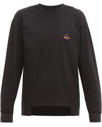 8 MONCLER PALM ANGELS Logo-plaque Cotton T-shirt - Black