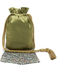 Galvan London Beaded-fringe Satin Pouch - Green
