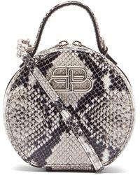 Balenciaga Vanity Bb-logo Python-effect Leather Clutch Bag - Multicolor