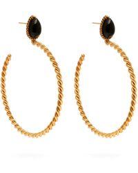 Sylvia Toledano - Onyx Embellished Twisted Hoop Earrings - Lyst