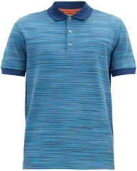Missoni Striped Cotton-piqué Polo Shirt - Blue
