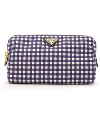 Prada - Gingham Cotton Make-up Bag - Lyst