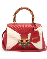 Gucci - Queen Margaret Bamboo-handle Quilted-leather Tote - Lyst