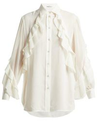 Givenchy - Pleated Ruffle Silk Blend Blouse - Lyst