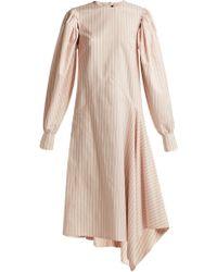 CALVIN KLEIN 205W39NYC - Pinstriped Silk And Cotton Blend Midi Dress - Lyst