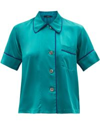 Araks Shelby Short-sleeve Silk-charmeuse Pyjama Shirt - Green