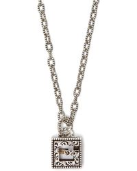 Gucci - G Motif Sterling Silver Necklace - Lyst