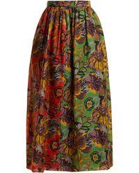 Duro Olowu Jupe en gazar de soie à imprimé floral - Vert