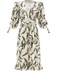 Adriana Degreas Floral-print Plunge-neck Cotton Midi Dress - Multicolor