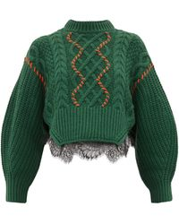 Self-Portrait Braided Jumper With Contrasting Stitching - Green