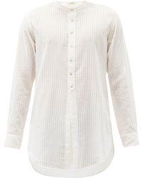 Péro Collarless Striped Cotton Tunic - White