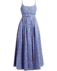 Alessandra Rich Tropical Print Crystal Embellished Cotton Dress - Blue