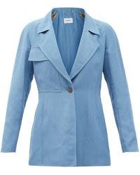 Ferragamo パッチポケット ギャバジン スーツジャケット - ブルー