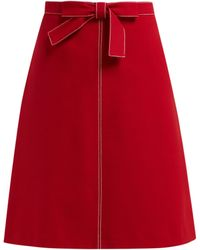 RED Valentino - Knotted High Rise Crepe Midi Skirt - Lyst