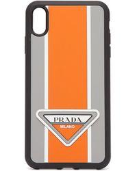 Prada Logo Stripe Iphone® Xs Max Rubber Phone Case - Orange
