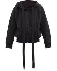 Norma Kamali Hooded Cotton-blend Jersey Bomber Jacket - Black