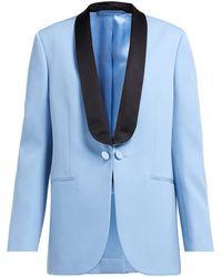 Calvin Klein シルクサテンラペル ウールタキシードジャケット - ブルー