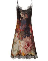 Carine Gilson Lace Trimmed Silk Satin Slip Dress - Multicolour