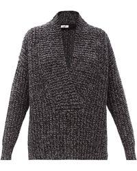 Valentino Pull en laine mélangée côtelée à col châle - Gris