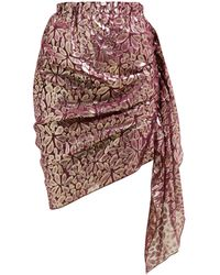 Romance Was Born Disco Paisley-jacquard Ruched Silk-blend Skirt - Multicolour