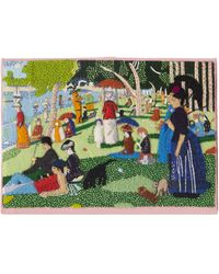 Olympia Le-Tan Seurat Sunday In The Park Embroidered Clutch Bag - Multicolour