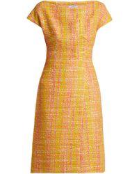 Prada Tweed Bouclé Midi Dress - Yellow