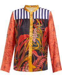 La Prestic Ouiston Peace Floral Print Band Collar Silk Twill Shirt - Red