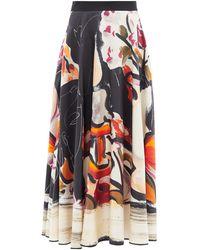 ROKSANDA Fidra Abstract-print Silk-twill Skirt - Multicolour