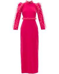 Givenchy オーガンザラッフル ベルベットドレス - ピンク