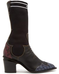 Fendi - Contrast-panel Leather Boots - Lyst