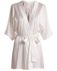 Fleur Of England - Colette Lace-detail Silk-blend Short Robe - Lyst