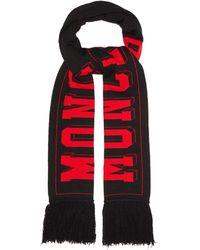 Moncler ロゴ ウールブレンドスカーフ - レッド