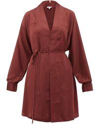 Lunya Elasticated-cuff Belted Silk Robe - Red