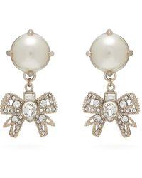 Miu Miu Crystal Bow And Faux Pearl Earrings - Multicolour