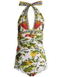 Dolce & Gabbana - Halterneck Ruched Floral-print Swimsuit - Lyst
