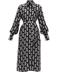 16Arlington ナミカ フィルクーペ クレープシャツドレス - ブラック