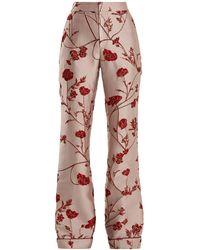 Johanna Ortiz Jancita High-rise Flared Brocade Pants - Pink