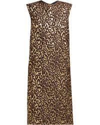 Rochas Robe à imprimé léopard en jacquard métallisé Onyx