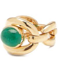 Nadine Aysoy Catena Emerald & 18kt Gold Ring - Metallic