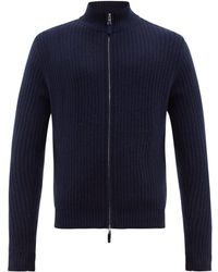 Allude Ribbed Zip Through Cashmere Sweater - Blue