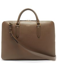 Smythson Ludlow Grained-leather Briefcase - Green