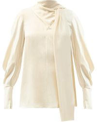 ROKSANDA Dauphin Pussy-bow Silk-satin Blouse - White
