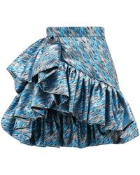 Germanier Ruffled Brocade Mini Skirt - Blue