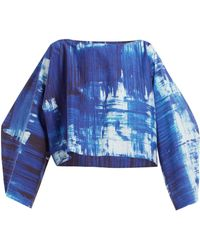 Issey Miyake Haut raccourci en coton à imprimé coups de pinceau - Bleu
