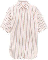 Schnayderman's オーバーサイズ ストライプ コットンシルクシャツ - マルチカラー