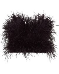 The Attico Feathered Strapless Cotton Crop Top - Black