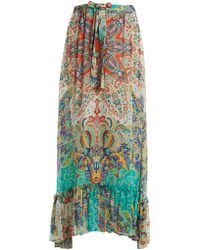 Etro - Abstract Floral Print Ruffle Trim Skirt - Lyst