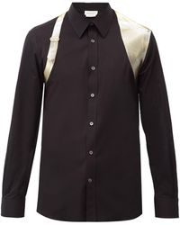 Alexander McQueen メタリックハーネス コットンシャツ - ブラック