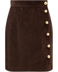 Dolce & Gabbana サイドボタン コットンコーデュロイスカート - ブラウン