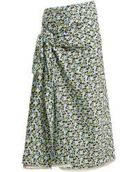 Marni - Plumeria-print Cotton-poplin Skirt - Lyst